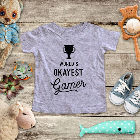 World's Okayest Gamer - playing Retro Video game design Baby Onesie Bodysuit, Toddler & Youth Soft Shirt