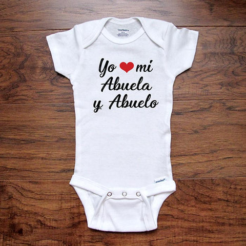Yo heart love mi Abuela y Abuelo - Spanish baby onesie I love my grandma and grandpa - Infant & Toddler Youth Soft Shirt baby birth pregnancy announcement