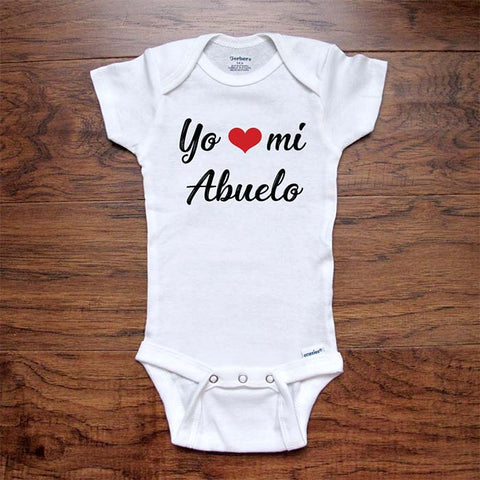 Yo heart love mi Abuelo - Spanish baby onesie I love my grandpa - Infant & Toddler Youth Soft Shirt - baby birth pregnancy announcement
