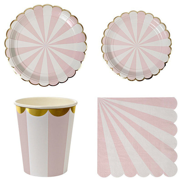 Pre-order Pink and Gold Striped Tableware Set