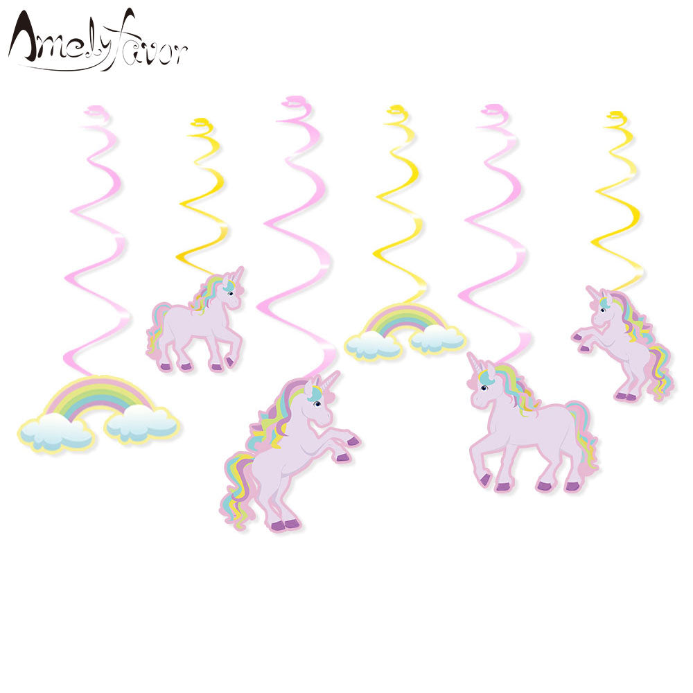 Pre-order Hanging Swirl Unicorn Decorations 6pce