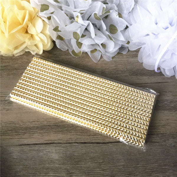Pre-order 25 pcs pink or gold striped paper straws