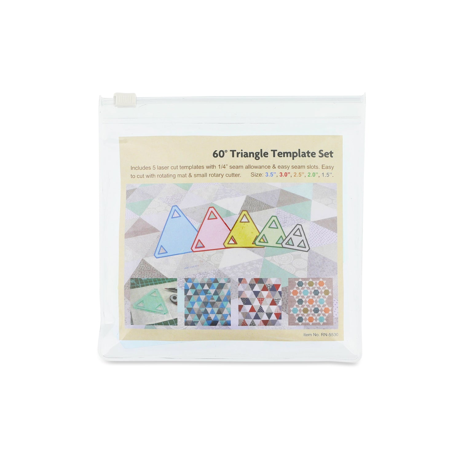 "5PCS Patchwork Triangle Template Set 1 1/2""-2""-2 1/2""-3""-3 1/2"""