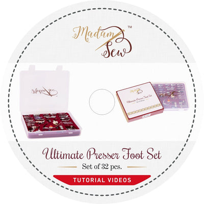 DVD with instruction videos for the Ultimate Presser Foot Set 32 pcs