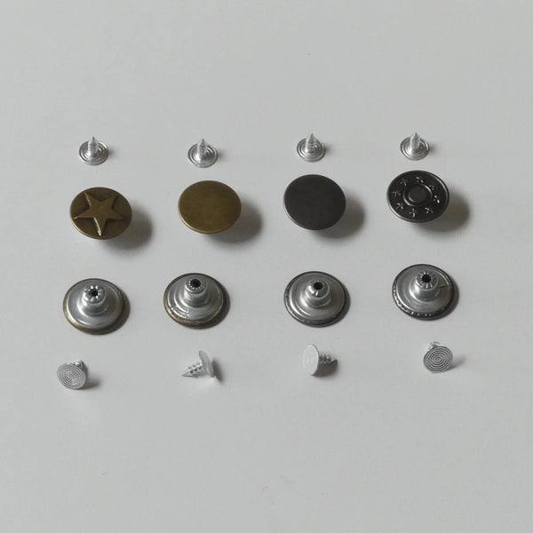 No-Sew Metal Buttons Set 100PCS - Snaps & Jeans Buttons