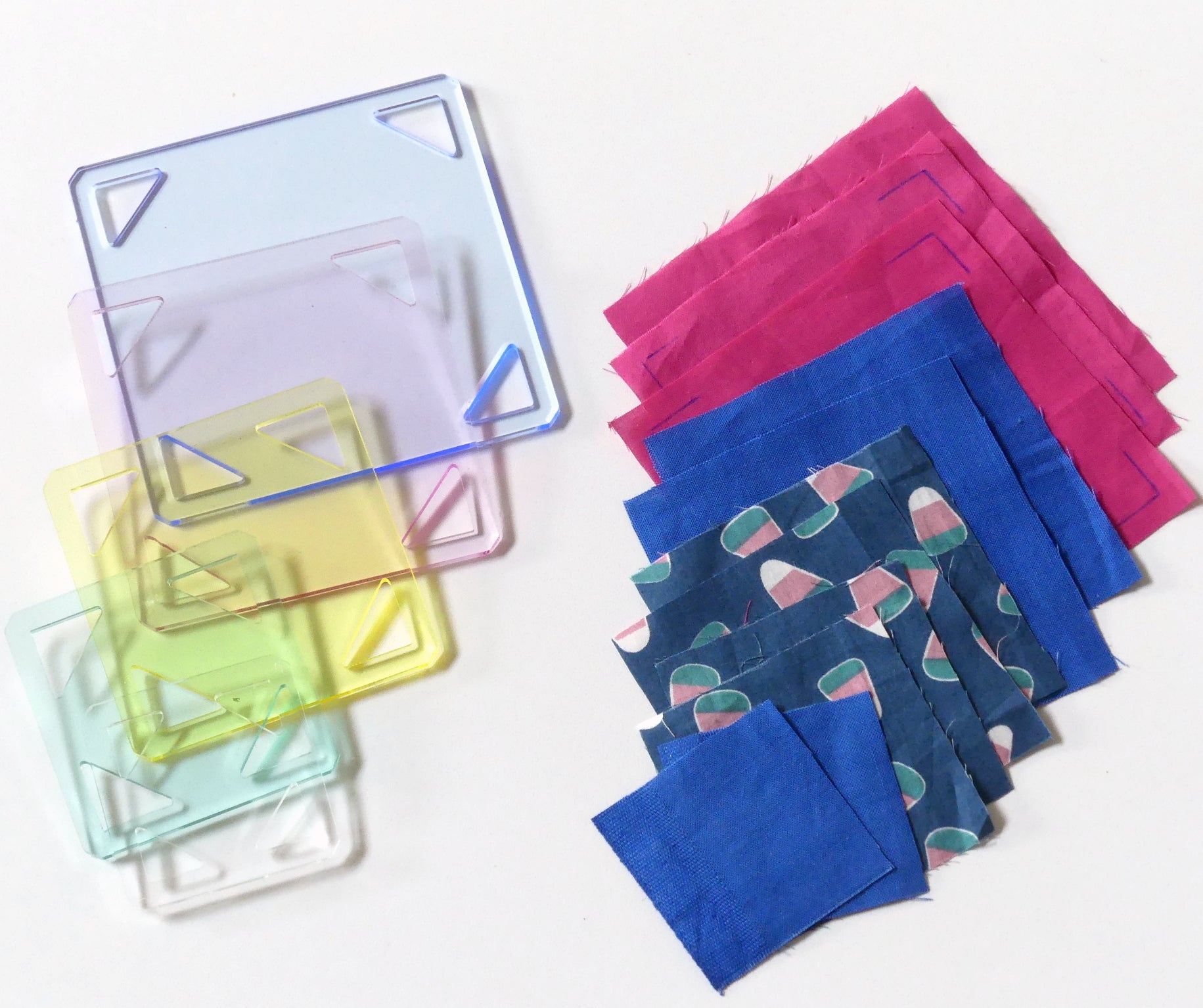 "5PCS Patchwork Square Template Set 1 1/2""- 2"" - 2 1/2"" - 3"" - 3 1/2"""