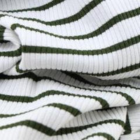 Green Striped Knitted Rib - by 1/2 yrd
