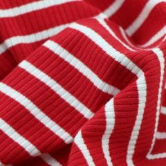 Red Striped Knitted Rib - by 1/2 yrd