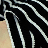 Black Striped Knitted Rib - by 1/2 yrd