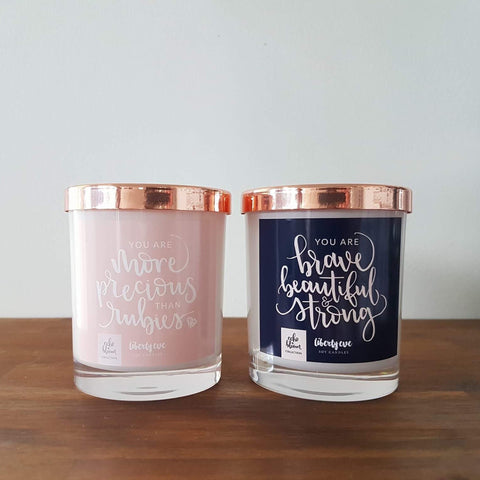 "Collab with ""Echo and Bloom"" Quote candles"