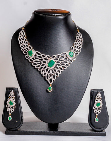 Studded palace green jewellery set - tmpfashion