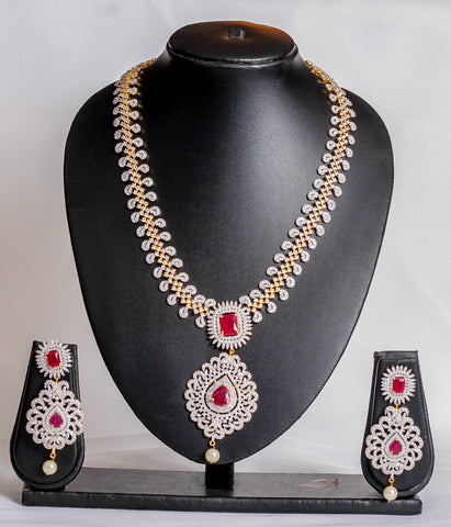 Kundan with indian pink crystal jewellery set - tmpfashion