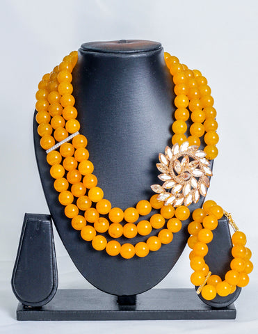 Three layered stoned beads in yellow - tmpfashion