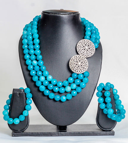 Three layered stoned beads in turquoise - tmpfashion