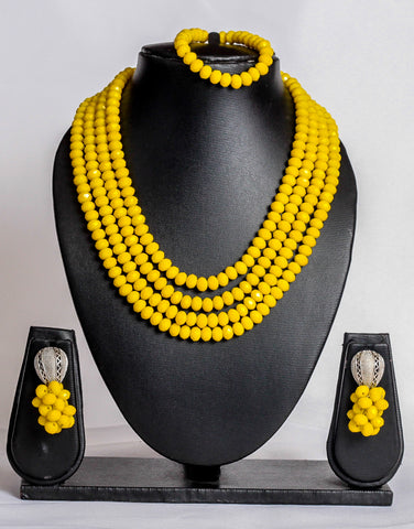 Four layered crystal bead set in yellow - tmpfashion