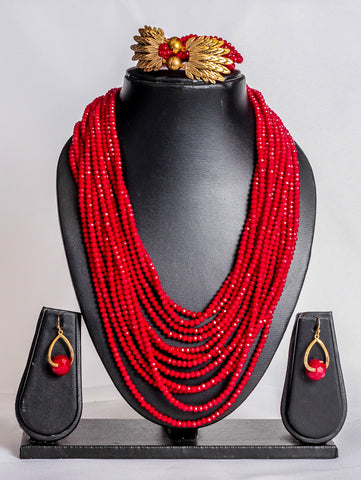 Multi strand crystal bead set in red - tmpfashion