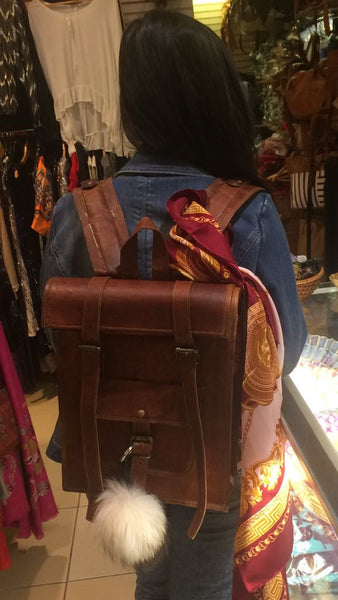 Leather Rolling Bagpack