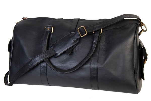 Classic Leather Vintage Black Duffle Bag
