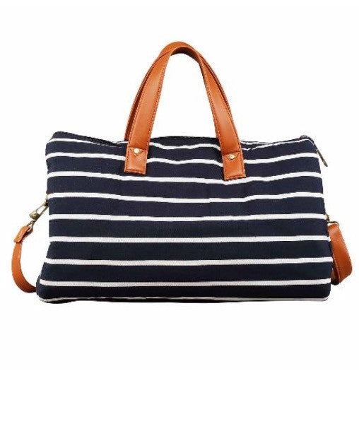 Classic Stripe - Canvas and Faux Leather Vegan Bag