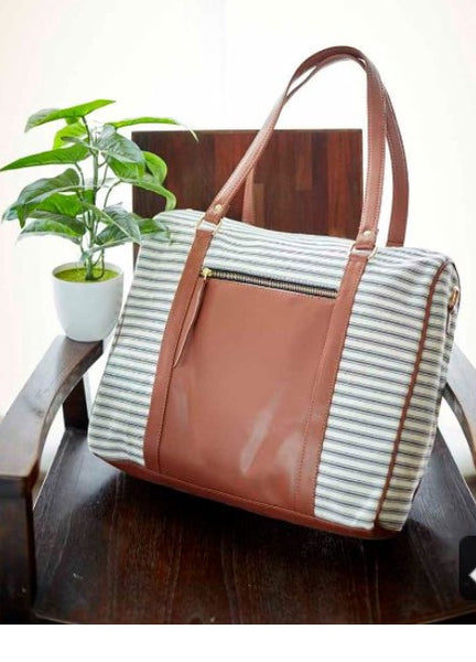 Grey Scale Stripe Tote - Canvas and Faux Leather Vegan Bag