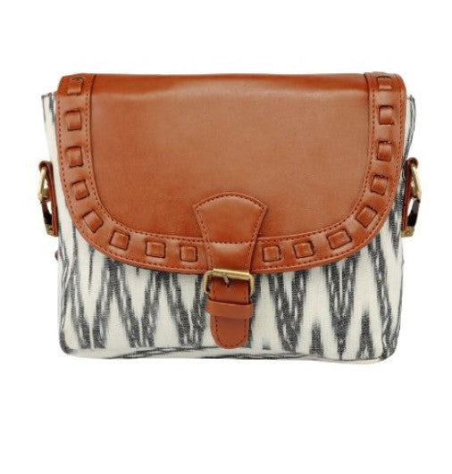 Ikat Sling - Canvas and Faux Leather Vegan Bag