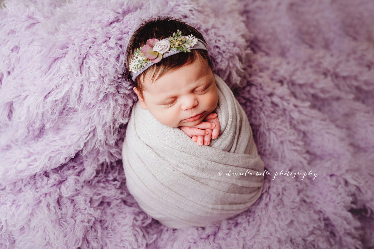 purple faux flokati wool blanket for newborn photos