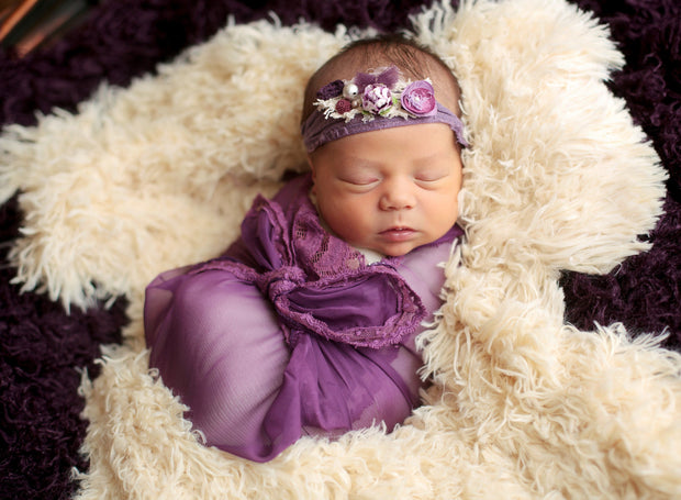 newborn photography purple and white photo prop faux fur Demure Vintage Lace Silk Artisan Layer