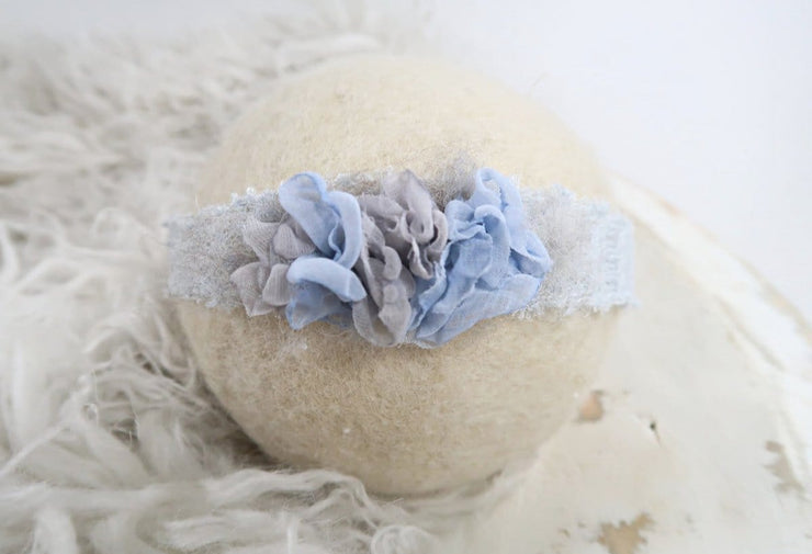 blue and gray newborn baby girl handmade headband in Buffalo, NY.