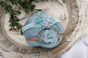aquamarine blue newborn girl swaddling wrap and headbands by custom photo props