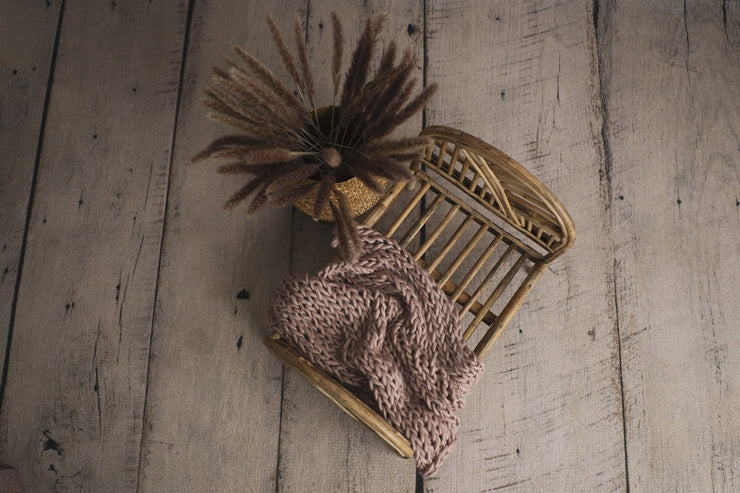 natural tone newborn baby boho cane or bamboo newborn bed photography props with knit blanket
