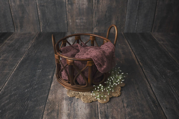 dark stain bamboo or cane bucket for newborn baby photo props
