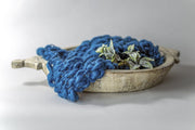 bright blue, chunky knit, small newborn boy posing blanket photography prop
