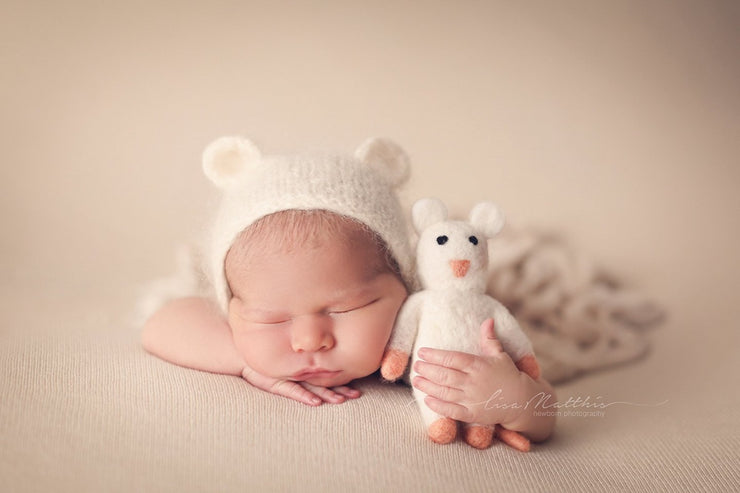 small felted stuffed mouse with newborn baby boy or girl by custom photo props