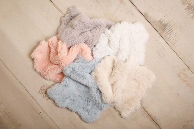 fur pelts for newborn baby photography pastel colors