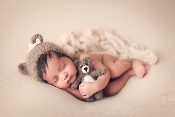 small felted baby bear with baby girl and bear hat for newborn photography