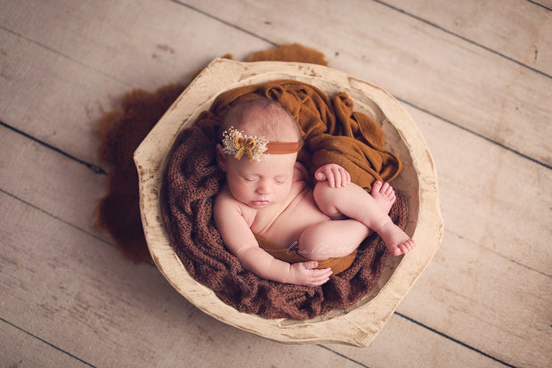 newborn baby velvet bow headband in copper brown tones for newbor photography