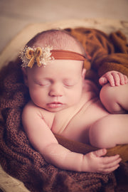newborn baby headband with velvet bow headband and dried flowers for newborn pictures