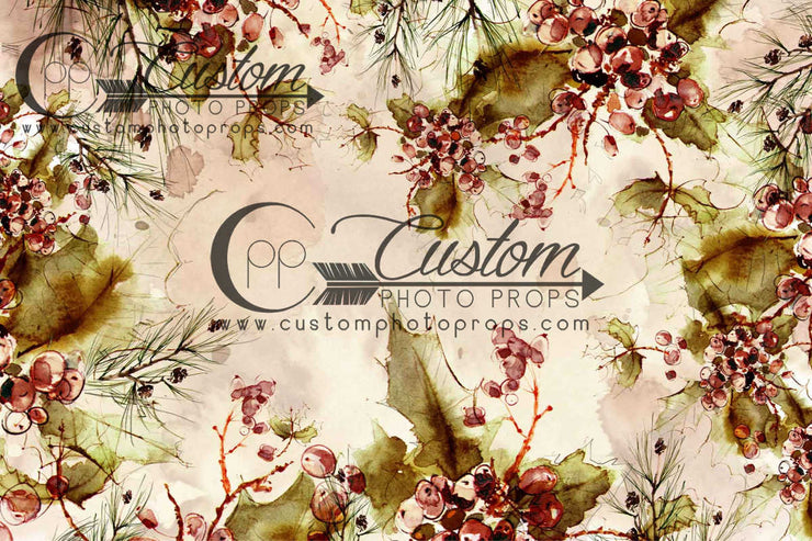 watercolor backdrop with tea stain and rust colored berries and olive leaves photography backdrop