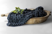 dark blue knit newborn baby chunky blanket for photo props