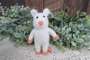 newborn baby felted mouse photography prop to hold in hand