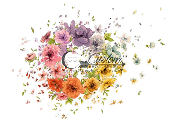 colorful handmade flower backdrop or floor for newborn and baby photography by cpp