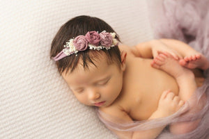 newborn girl in vintage purple  headband by custom photo props. Ships from Buffalo  New York