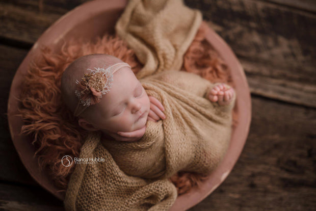 orange, thick and wavy, faux flokati fur newborn photo props by custom photo props
