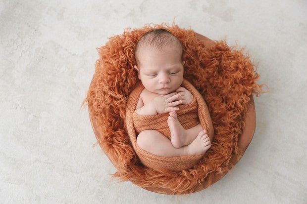 autumn inspired or fall newborn baby photo props in orange flokati newborn fur