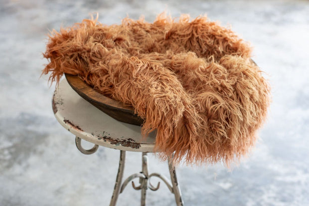 Orange faux flokati newborn fur photography props for boys or girls. Halloween colored fur