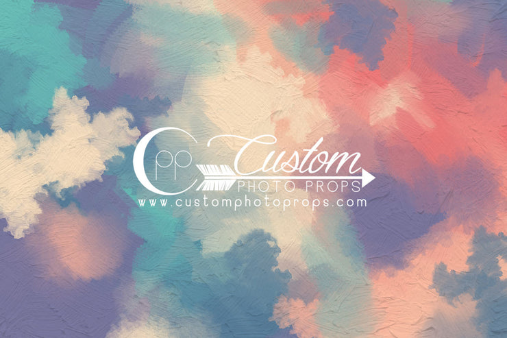 colorful painted backdrop in pink, purple, blue, green, cream for photography studio backdrops