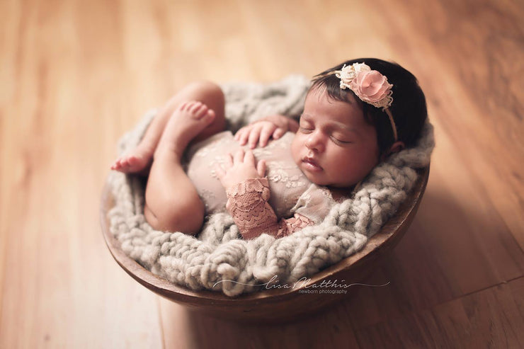 rustic wooden antique bowl newborn photo prop with baby girl