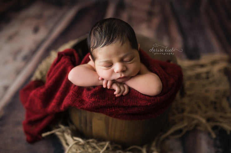 newborn in wooden basket by custom photo props. Ships from Buffalo  New York