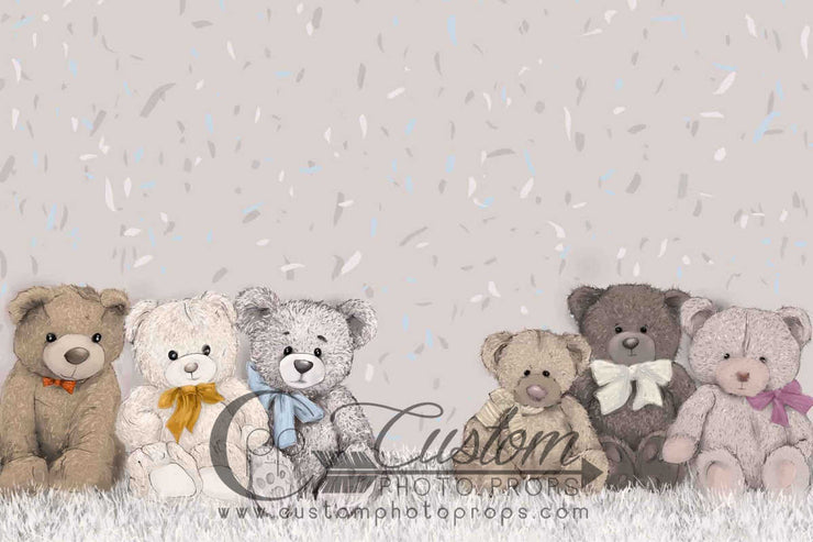 kids backdrop with bears and beige background for kids photos