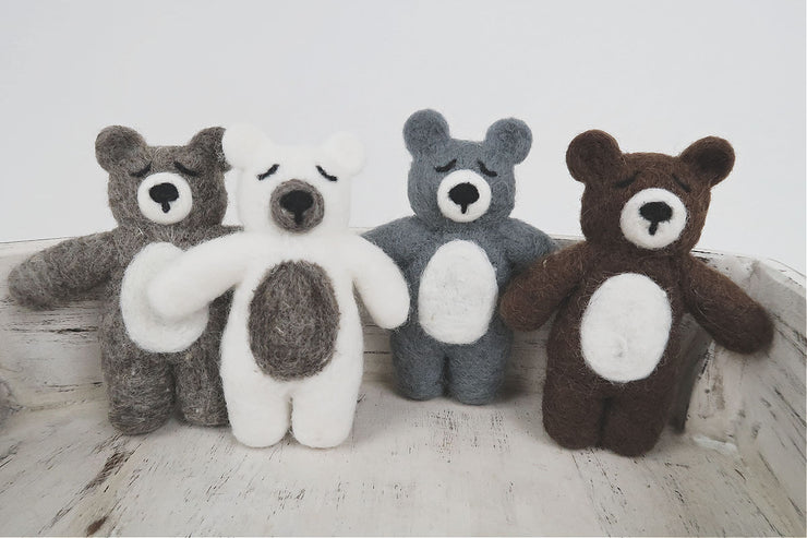 small, mini, felted bear newborn photography props for baby boys or girls by Custom Photo Props